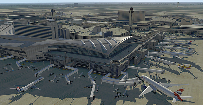 XPlane scenery - Dallas Fort Worth International terminal