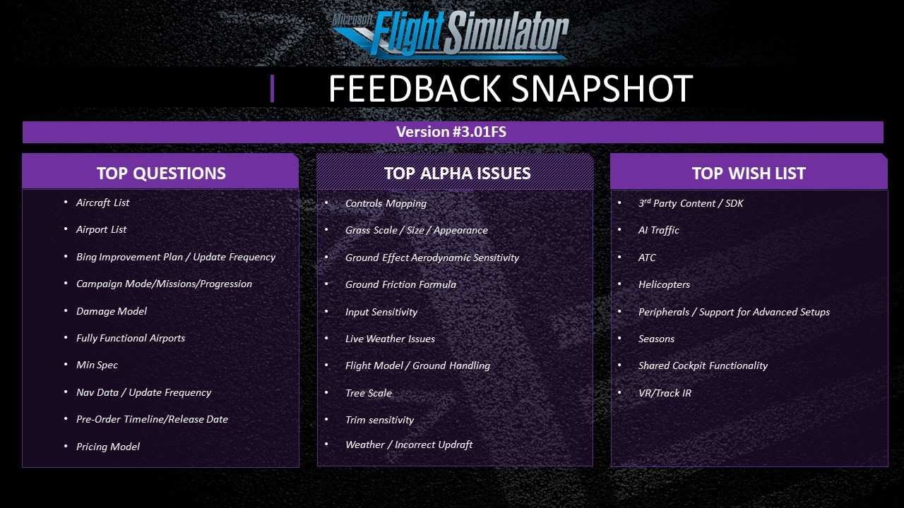 Microsoft Flight Simulator - Feedback Snapshot