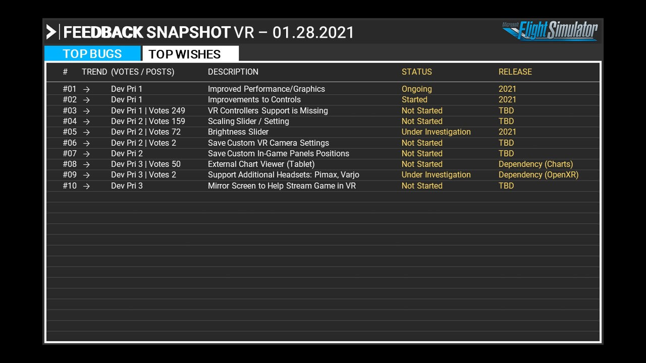 Microsoft Flight Simulator Feedback Snapshot
