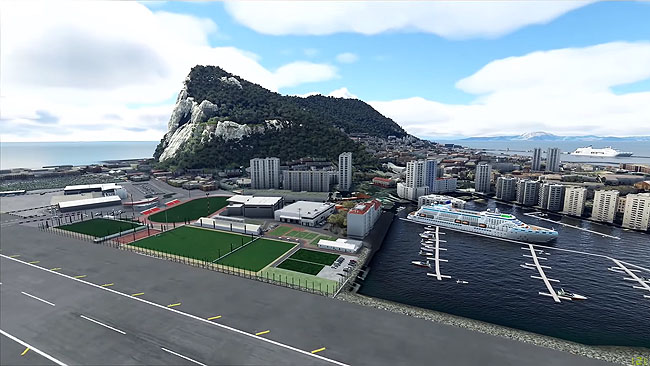Gibraltar and Surrounding Areas in Microsoft Flight Simulator