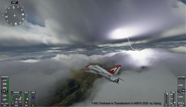 Click image for larger version.  Name:Navy T-45C Goshawk Trainer in Thunderstorm - MSFS 2020 - by Gpurg.jpg Views:25 Size:447.4 KB ID:226057